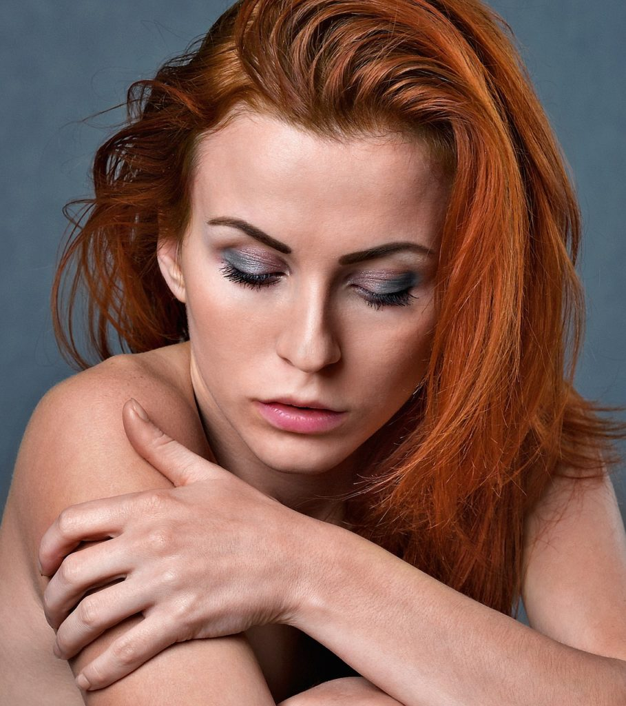 woman with red hair closeup